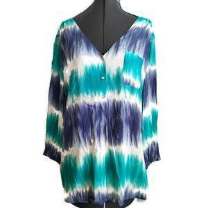 Popover Shirt XXL Fits XL 1x Blue Tie Dye boho